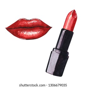 Hand drawn watercolor fashion illustration -  red lipstic and lips in red color