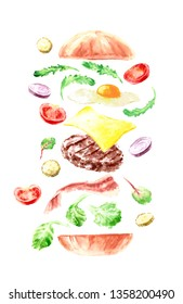 Hand drawn watercolor fast food illustration. Yummy layered cheeseburger with lettuce, tomato, onion, cheese, meet burger and bacon. For menu and background design.