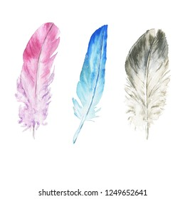 Hand drawn watercolor feather set isolated on white background. Colorful boho style illustration.