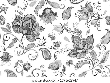 Hand drawn watercolor floral flower seamless pattern (tiling). Black and white seamless pattern with grunge black and white abstract whimsical tulips, paisley,  isolated on white background for design