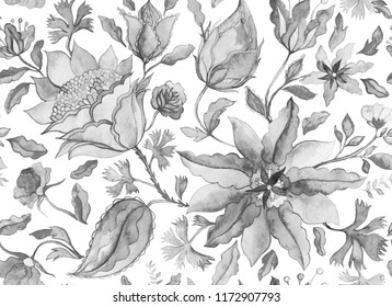 Hand drawn watercolor floral flower seamless pattern (tiling). Black and white seamless pattern with grunge abstract whimsical tulips, paisley,  isolated on white background for design