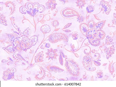 Hand drawn watercolor floral flower seamless pattern tiling. Colorful seamless pattern with pink rose abstract whimsical tulips, paisley, buta, orchid, lotus, lily and leaves on lilac background.