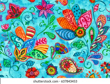 Hand drawn watercolor floral flower seamless pattern tile for textile. Colorful seamless pattern with red abstract whimsical tulips, paisley, butas, orchid, lotus, lily, leaves on blue background.