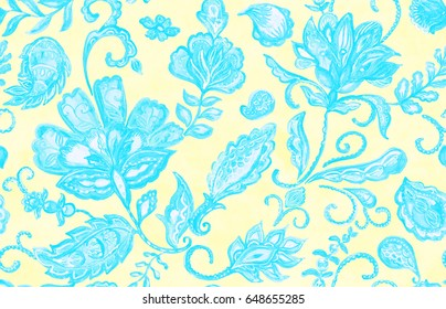 Hand drawn watercolor floral flower seamless pattern tiling. Colorful seamless pattern with blue abstract whimsical tulips, paisley, buta, orchid, lotus, lily and leaves on yellow background.