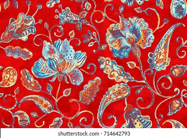 Hand drawn watercolor floral flower seamless pattern tiling. Colorful seamless pattern with blue abstract whimsical tulips, paisley, buta, orchid, lotus, lily and leaves on red background.