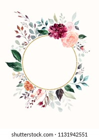 Hand drawn watercolor floral frame with roses