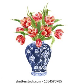 Hand Drawn Watercolor Floral Illustration Flower Arrangements Tulip Bouquet in Chinese Blue and White Ginger Jars Big Clipart