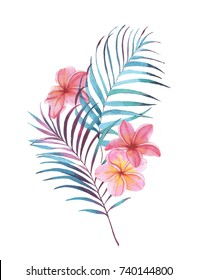Hand drawn watercolor floral illustration. Tattoo sketch template with palm leaves and plumeria flowers. Female tattoo drawing, stylized clip art for card, banner, poster.