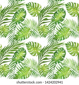 hand drawn watercolor floral tropical seamless pattern with green monstera leaves and cocnut palm tree leaves on white  background