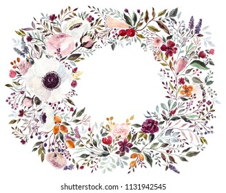 Hand drawn watercolor floral wreath with roses and other beautiful flowers and branches