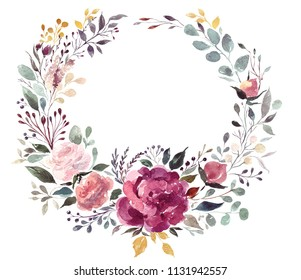 Hand drawn watercolor floral wreath with roses