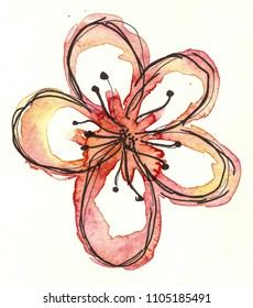 hand drawn watercolor flower
