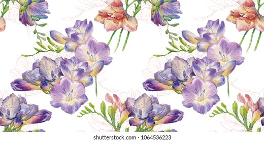 Hand drawn watercolor flower pattern. Anemones and Freesia flowers. Seamless floral pattern. Fabrick texture of bright colorful flowers. Gift paper texture of blossoms.