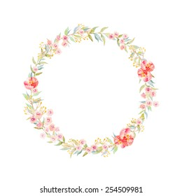 Hand drawn watercolor flower wreath