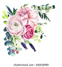 Hand drawn watercolor flowers, bouquet, corner composition