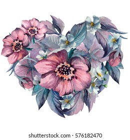 Hand drawn watercolor flowers heart