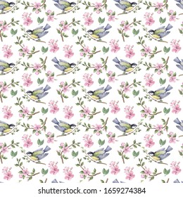 Hand drawn watercolor flowers seamless pattern. Watercolour decoration pattern. Vintage watercolour background. Perfect for wallpaper, fabric design, wrapping paper, digital paper.