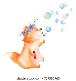 Hand drawn watercolor fox blowing bubbles