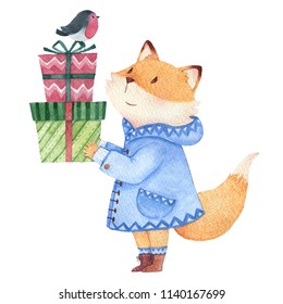 Hand drawn watercolor fox holding some gift boxes and smile at a bird
