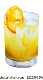 hand drawn watercolor fruit coktail with orange on white background