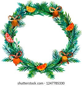Hand drawn watercolor and gouache wreath for Christmas wishes and greetings. Ideal for Instagram posts.