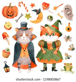 Hand drawn watercolor Halloween set with cute Dracula and Witch