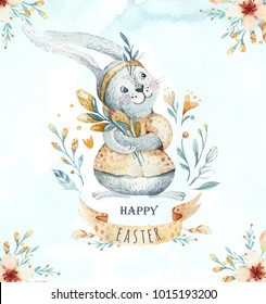 Hand drawn watercolor happy easter set with bunnies design. Rabbit bohemian style, isolated boho illustration on white. Cute baby rabbit illustration for design