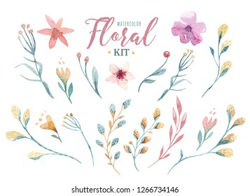 Hand drawn watercolor happy easter set with florals and flowers willow design. pussy-willow branches, isolated illustration on white.