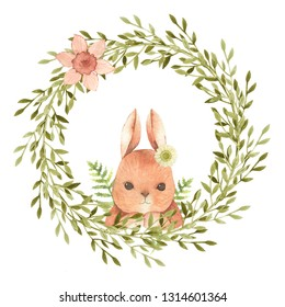 Hand drawn watercolor happy easter. Leaves wreath. Spring holiday decoration. It's perfect for easter cards, posters, banners, prints.