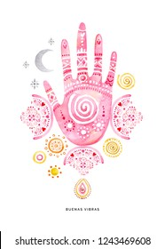 Hand drawn watercolor hand healing symbol on white background. Indigenous symbols. Perfect for fabric design. Watercolor illustration.