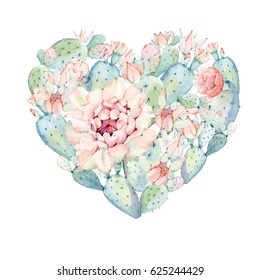 Hand drawn watercolor heart with saguaro cactus. It's perfect for cards, posters, banners, invitations, greeting cards, prints, wedding card, valentines card