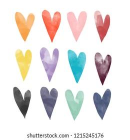Hand drawn watercolor hearts. Colored illustration