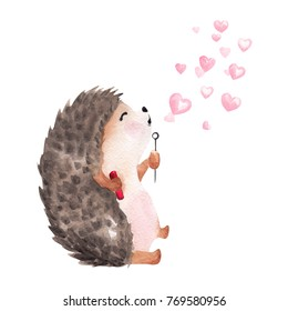 Hand drawn watercolor hedgehog blowing heart shaped bubbles