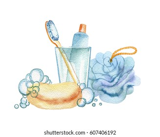 hand drawn watercolor hygiene products on white background