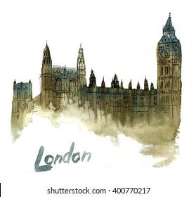 Hand drawn watercolor illustration of Big Ben, London, United Kingdom