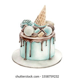 Hand drawn watercolor illustration of birthday cake with sweets decor.Blue accent.Modern cake with chocolate,  waffle cone and candy decoration