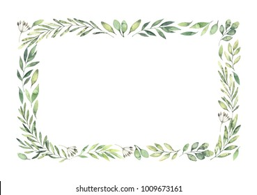 Hand drawn watercolor illustration. Botanical rectangular border with green branches and leaves. Spring mood. Floral Design elements. Perfect for invitations, greeting cards, prints, posters, packing