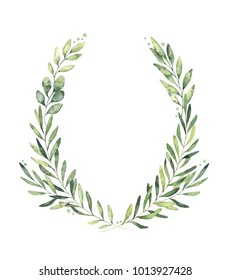 Hand drawn watercolor illustration. Botanical wreath of green branches and leaves. Spring mood. Floral Design elements. Perfect for invitations, greeting cards, prints, posters, packing