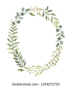 Hand drawn watercolor illustration. Botanical greenery wreath with branches and leaves. Eucalyptus. Floral Design elements. Perfect for wedding invitations, greeting cards, prints, posters, packing
