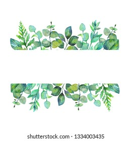 Hand drawn watercolor illustration.  Botanical label with green leaves, herbs, eucalyptus, fern. Design elements. Perfect for invitations, greeting cards, prints, posters, packing