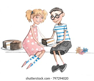 Hand drawn watercolor illustration of boy and girl