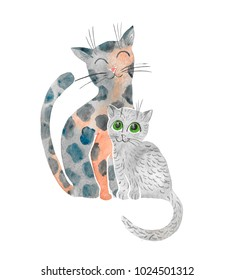 Hand drawn watercolor illustration of cat