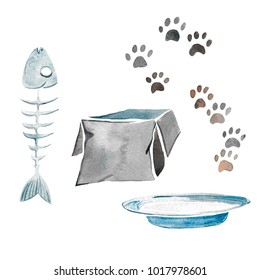 Hand drawn watercolor illustration of cat's items