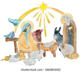 Hand drawn watercolor illustration Christian nativity scene. Virgin Mary, Jesus Christ, Joseph, sheep, animals, Star of Bethlehem.For Merry Christmas greeting cards, Christian publications and prints