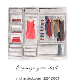 Hand drawn watercolor illustration of closet.