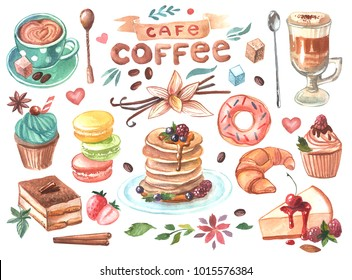 Hand drawn watercolor illustration coffee and sweets. Good for menu and cafe design.