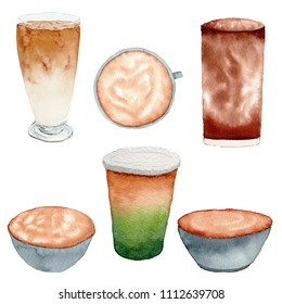 Hand drawn watercolor illustration of coffee collection in ice and hot drink, included ice espresso green tea on white background.