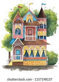 Hand drawn watercolor illustration. Cute victorian house.