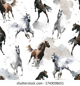 Hand drawn watercolor illustration. Cute cartoon. Seamless pattern. Horses white and dark brown. Mustang wild Arabian.  White background. Pastel color. For cloth, linen and other texture.