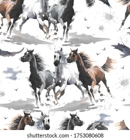 Hand drawn watercolor illustration. Cute cartoon. Seamless pattern. Horses white and dark brown, eagle. Mustang wild Arabian.  White background. Pastel color. For cloth, linen and other texture.